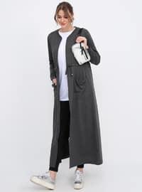 Gray - Anthracite - Unlined - Crew neck - Cotton - Plus Size Coat