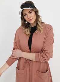 Salmon - Dusty Rose - Unlined - Crew neck - Cotton - Plus Size Coat