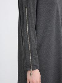 Gray - Anthracite - Smoke-coloured - Crew neck - Plus Size Tunic