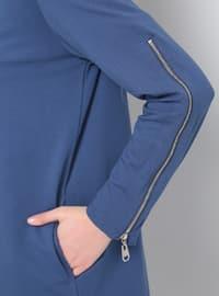 Blue - Indigo - Crew neck - Plus Size Tunic