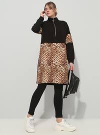 Black - Brown - Leopard - Polo neck - Cotton - Plus Size Tunic