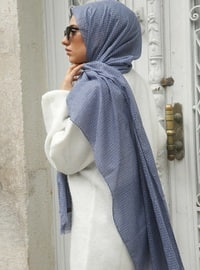 Blue - Printed - Plaid - Cotton - Shawl - Benatt