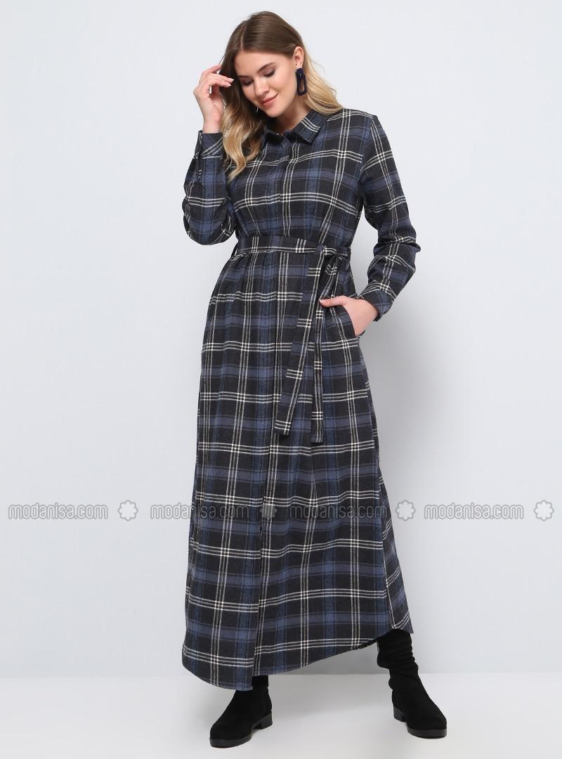 Gray - Plaid - Unlined - Point Collar - Cotton - Plus Size Dress