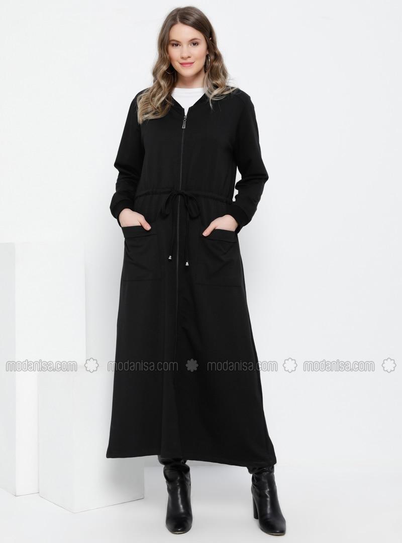Black - Unlined - Crew neck - Cotton - Plus Size Coat