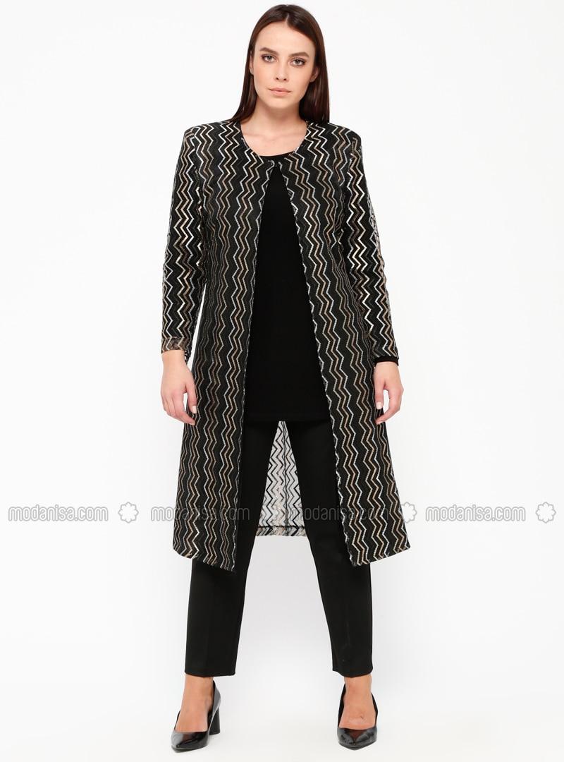 Black - Gold - Stripe - Crew neck - Unlined - Plus Size Suit