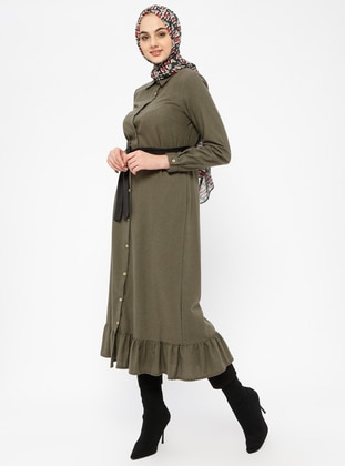 Khaki - Point Collar - Unlined - Dresses