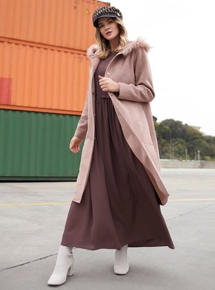 Brown - Unlined - Plus Size Overcoat