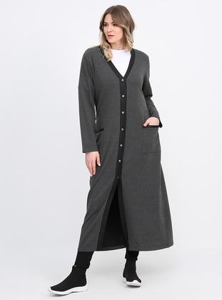 Anthracite - V neck Collar - Cotton - Plus Size Cardigan - Alia