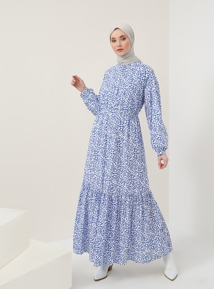 Blue - White - Multi - Crew neck - Fully Lined - Cotton - Dress