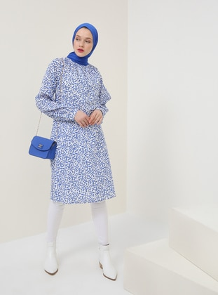 Blue - Saxe - Multi - Crew neck - Cotton - Tunic