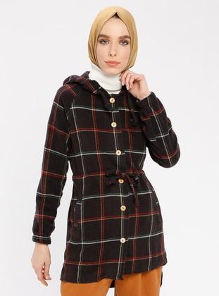 Brown - Plaid - Point Collar - Tunic