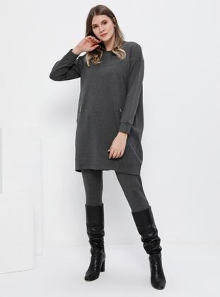 Gray - Anthracite - Crew neck - Unlined - Cotton - Plus Size Suit