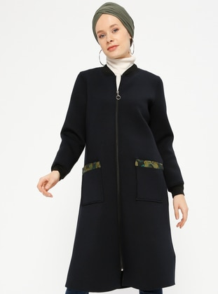 Navy Blue - Unlined - Crew neck - Cotton - Coat
