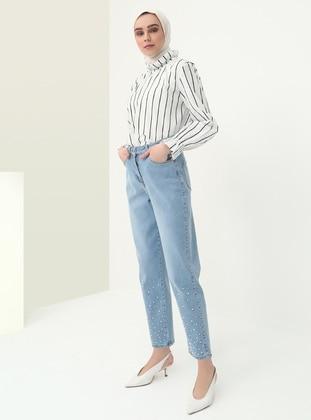 Blue - Cotton - Pants