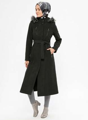 Anthracite - Fully Lined - Polo neck - Coat - Miss Cazibe