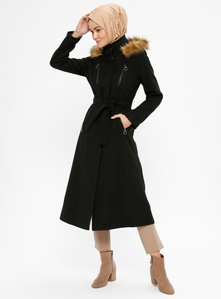 Black - Fully Lined - Polo neck - Coat - Miss Cazibe