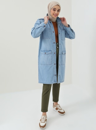 Blue - Unlined - Point Collar - Cotton - Jacket