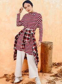 Red - White - Stripe - Polo neck - Cotton - Tunic