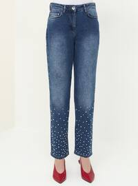 Navy Blue - Cotton - Pants