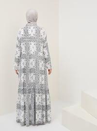 Black - White - Ecru - Multi - Crew neck - Unlined - Cotton - Dress