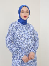 Blue - Saxe - Multi - Crew neck - Cotton - Tunic