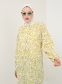 Green - Multi - Crew neck - Cotton - Tunic