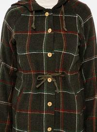 Khaki - Plaid - Point Collar - Tunic