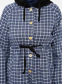 Navy Blue - Plaid - Point Collar - Tunic