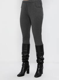 Gray - Anthracite - Crew neck - Unlined - Cotton - Plus Size Suit