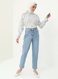 Blue - Cotton - Pants