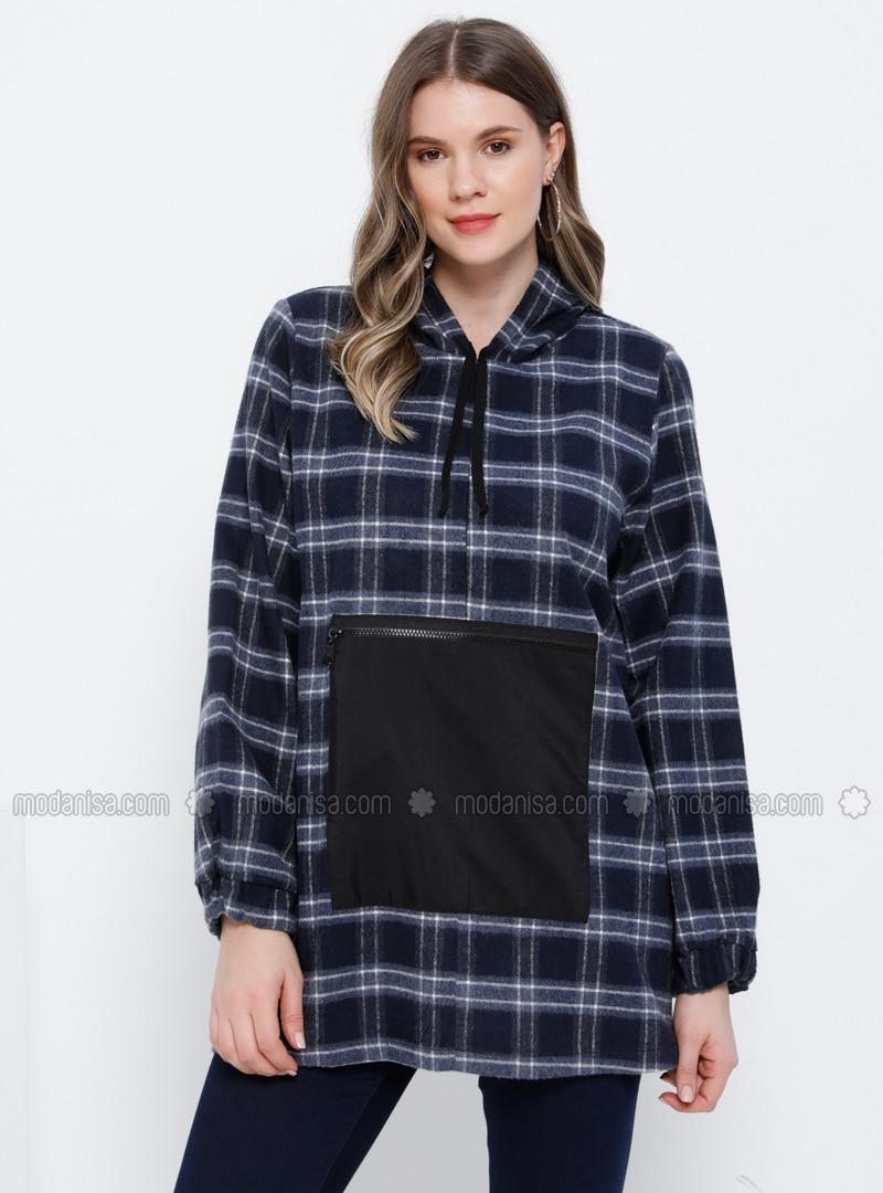Blue - Black - Plaid - Cotton - Plus Size Tunic