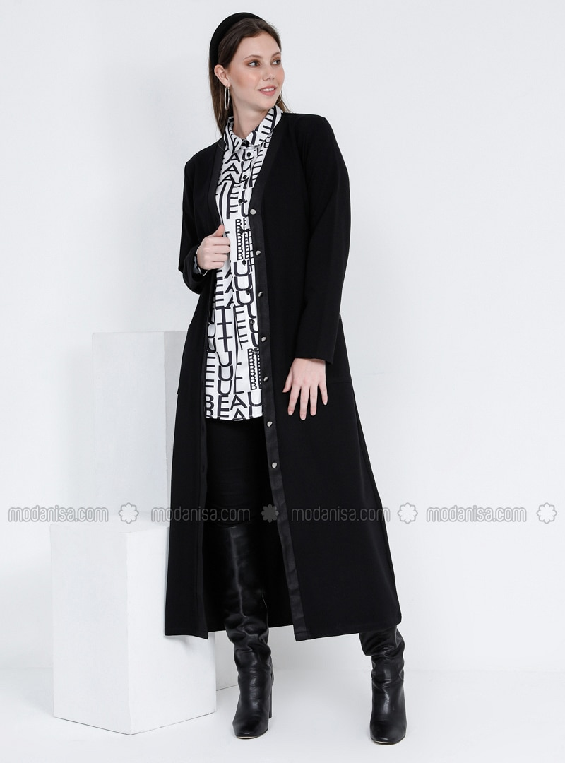 Black - V neck Collar - Cotton - Plus Size Cardigan