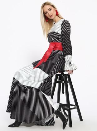 Black - White - Stripe - Crew neck - Fully Lined - Dresses