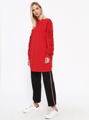 Cotton - Crew neck - Red - Sweat-shirt - Missemramiss