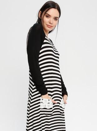 Black - White - Stripe - Crew neck - Unlined - Dresses