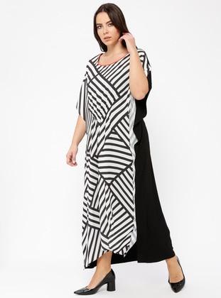 Black - White - Stripe - Crew neck - Unlined - Viscose - Dresses