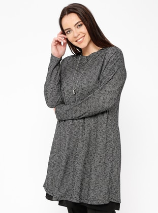 Gray - Crew neck - Viscose -  - Blouses