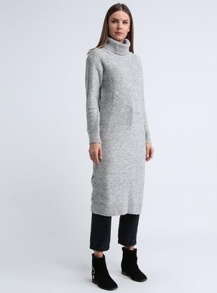 Gray - Polo neck -  - Tunic