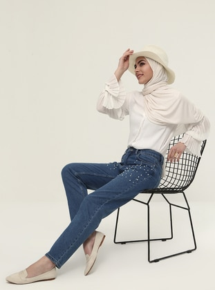 Navy Blue - Cotton - Pants - Refka