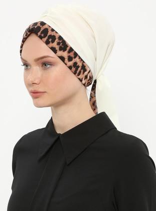 White - Ecru - Leopard - Printed - Instant Scarf