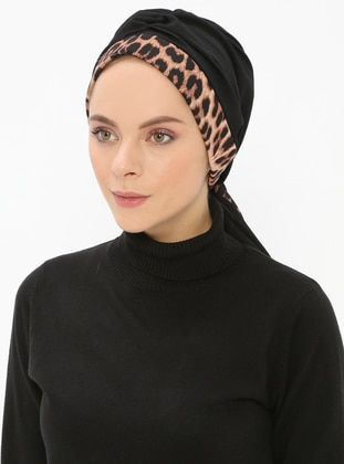 Black - Leopard - Printed - Instant Scarf