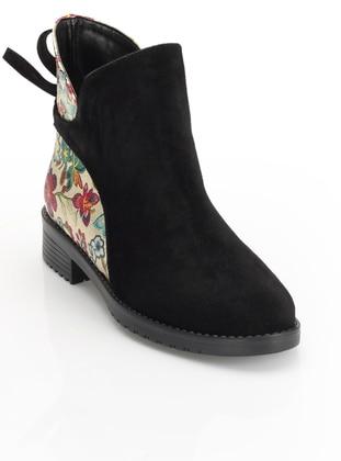 Bot - Siyah Çiçek - Zenneshoes Ürün Resmi