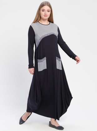 Navy Blue - Gray - Crew neck - Unlined - Viscose - Dresses
