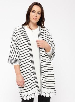 Black - White - Stripe - Viscose - Cardigan