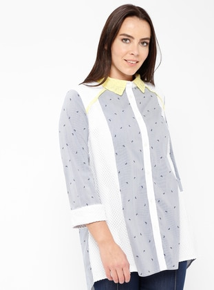 Multi - Stripe - Point Collar - Viscose - Blouses