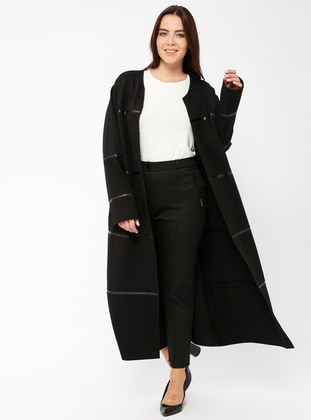 Black - Unlined - Crew neck - Viscose - Topcoat
