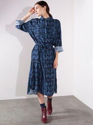 Indigo - Multi - Point Collar - Viscose - Dresses