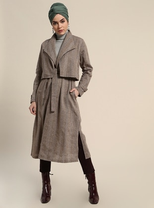 Brown - Stripe - Unlined - Shawl Collar - Cotton - Trench Coat