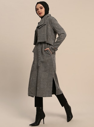 Black - Checkered - Unlined - Shawl Collar - Cotton - Trench Coat