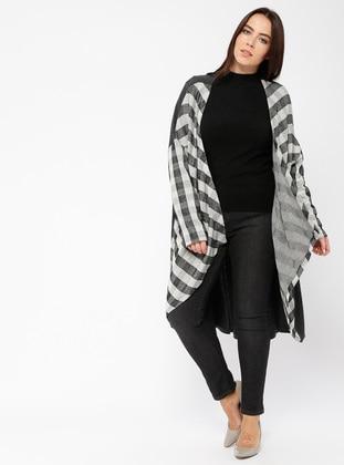 Gray - Checkered - Shawl Collar - Viscose - Cardigan